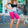 Stock Photo: Teen girl on roller skates