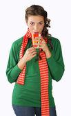 Teen girl with tea cup — Stock Photo