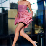 Woman in fashion dress — Stock Photo
