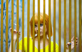Girl in golden cage — Stock Photo