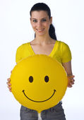 Woman with smiley balloon — Stock Photo