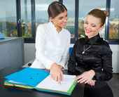Two woman in office — Stock Photo