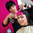 Hair stylist making cool haircut — Stock Photo #26059669