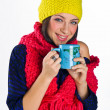 Teen girl with tea cup — Stock Photo