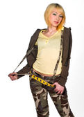 Teen girl in camouflage clothes — Stock Photo