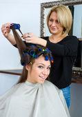 Hair stylist in work — Stock Photo