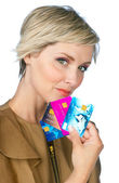 Woman with credit cards — Stock Photo