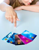 Woman hand with credit cards — Stock Photo