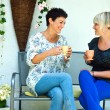 Woman friends chatting — Stock Photo