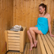 Foto Stock: Attractive woman in sauna