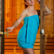 Attractive woman in sauna — Stock Photo