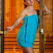 Attractive woman in sauna — ストック写真