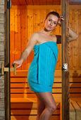 Attractive woman in sauna — Stock Photo
