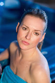 Woman with wet face — Stock Photo