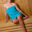Attractive woman in sauna — Stok Fotoğraf #26331251