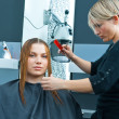 Stock Photo: Hair stylist working on woman haircut