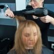 Stock Photo: Hair stylist drying womhair