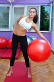 Attractive woman exercise with pilates ball — Stock Photo