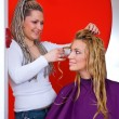 Foto Stock: Hair stylist at work