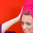 Woman with towel on her head — Stock Photo #26354155