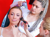 Hair and make up stylist at work — Stock Photo