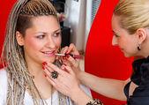 Make up stylist at work — Stock Photo
