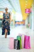 Nákupní tašky před žena — Stock fotografie