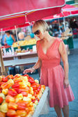 Woman on market place — Stock Photo