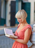 Woman with book — Stock Photo