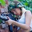 Army girl with rifle — Foto Stock
