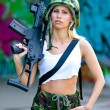 Army girl with rifle — Stock Photo #27435579