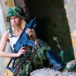 Army girl with rifle — Stock Photo #27435615