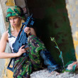Army girl with rifle — Stock Photo #27435643