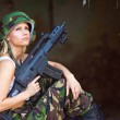 Stock Photo: Army girl with rifle