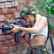 Army girl with rifle — Stock Photo #27435757