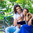 Young couple on the park bench — Stock Photo #28404861