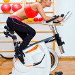 Stock Photo: Attractive womon stationary bike