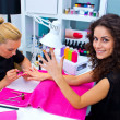 Woman with stylist on manicure — Stock Photo