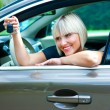 Stock Photo: Womdriver with car key