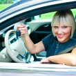 Woman driver with car key — Stock Photo