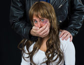 Domestic violence scene — Stock Photo