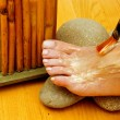 Female feet on spa treatment — Stock Photo #33920131