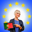 Woman holding tablet with united portugal on european union bac — Stock Photo #33920751