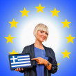 Woman holding tablet with greece flag on european union backgro — Foto de Stock
