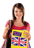 Teen girl learning english language — Stok fotoğraf