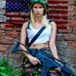 Army girl with rifle — Stock Photo