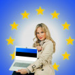 Woman holding laptop estonian with flag — Stock Photo