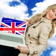 Attractive woman holding laptop with english language sign — Stockfoto