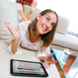 Attractive woman with tablet and credit card — Foto de Stock