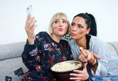 Two woman friends making selfie picture — Stock Photo